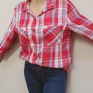7Seven 3/4 Sleeve Red White Blue Plaid Gauze Shirt